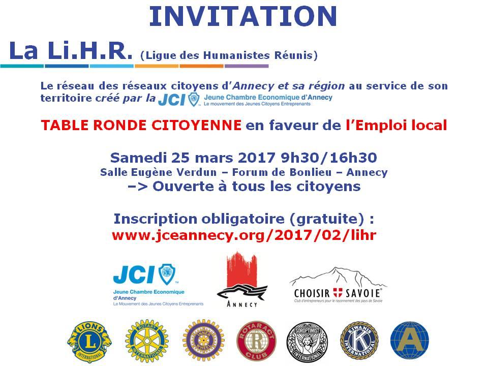 INVITATION - LIHR - Agir pour l'emploi en locale